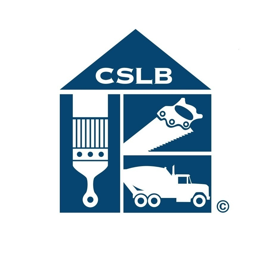 Logo of the Constractors State License Board. Image features a paint brush, hand saw and cement truck with the letters CSLB above in white